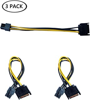 OOMIAK 3 Pack SATA 15 Pin Male to 6 Pin Female PCI Express (PCIe) Graphics Video Card Power Cable Adapter (8 Inch) for Graphics Video Card