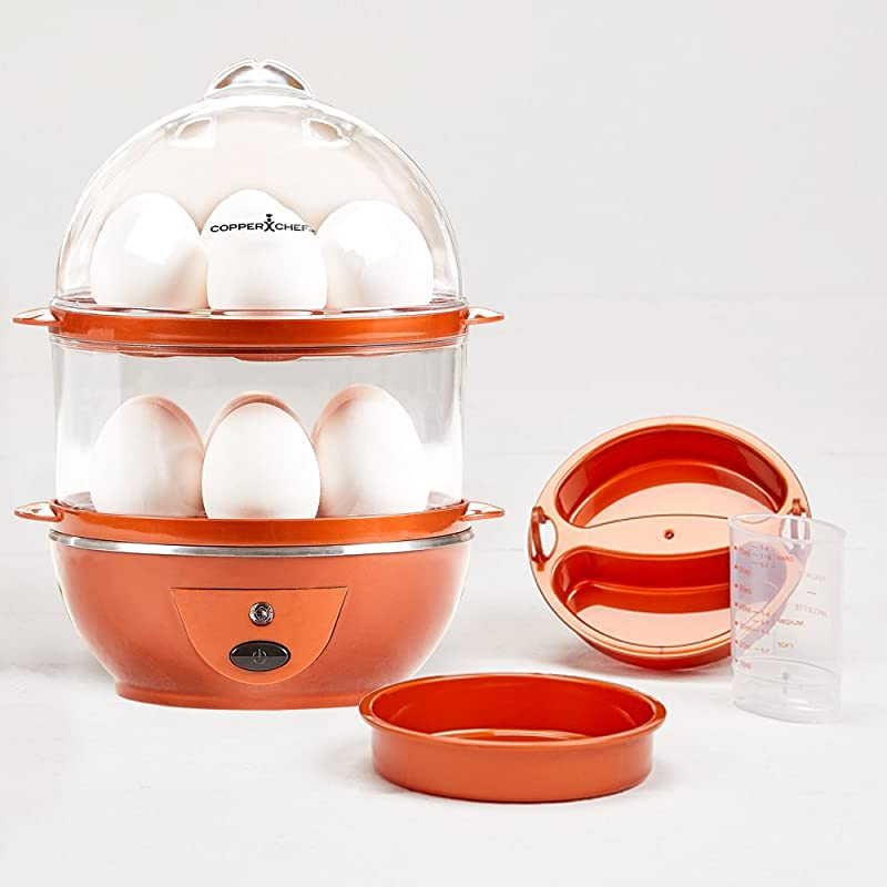 Copper Chef Want The Secret To Making Perfect Eggs More C Electric Cooker Set 7 Or 14 Capacity Hard Boiled Poached Scrambled Eggs Or Omelets Automatic Shut Off 7 5 X 6 7 X 7 5 Inches Red