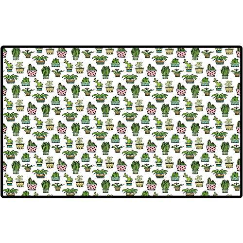 Mat Outdoor Rug Cactus Decor Colorful Pretty Succulent Houseplants and Cactus Pattern Doodle Flowers Pots Indoor Outdoor, Waterproof,Mat for Floor, Patio 29x17