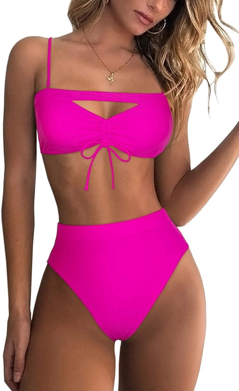 Mulisky Women's Sexy Shoulder Strap Bikini Sets Cutout Knot Front High Waisted Two Piece Swimsuit Swimwear