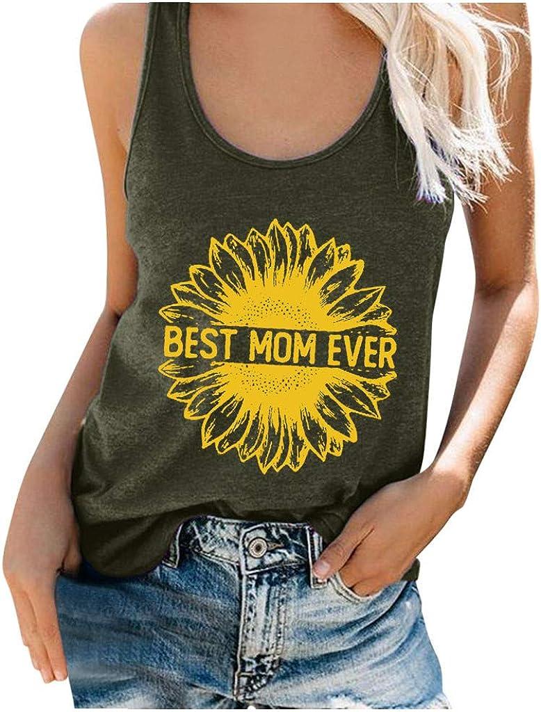POLLYANNA KEONG Tank Tops for Women, Women Cute Sunflower Print Graphic Tank Tops Tees Vest Casual Sleeveless Tops T Shirts