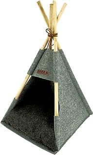 Spetebo Husdjurstält av trä och filt i grått med kudde – ca 80 x 44 x 42 cm – stabil katt tipi hund tält hus säng tvättbar...