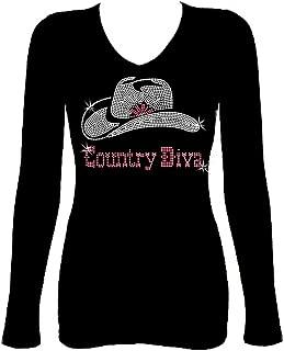 Country Diva Rhinestone Cowgirl Hat Western Womens V Neck Long Sleeve Tee Shirt