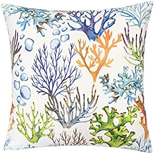 Homey Cozy Outdoor Accent Pillow Cover,Coral Island Large Water/UV/Stain-Resistance Nautical Decorative Replacement Cushion Cover 20x20, Cover Only