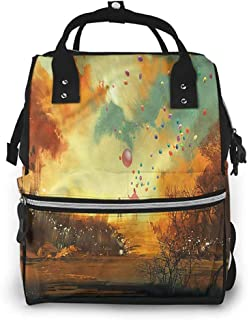 Diaper Backpack Multi-Functional Travel Back Pack, Fantasy Boy and Wizard Balloons, Large Capacity, Waterproof and Stylish