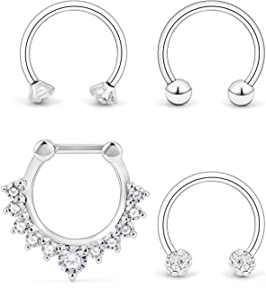 Ocptiy 4PCS 16G Surgical Steel Clear Cubic Zirconia Nose Hoop Septum Ring 10mm Horseshoe Ear Daith Tragus Clicker Rings Retainer Body Piercing Jewelry
