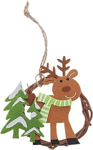 BESTOYARD 3pcs Couronne de Noël Couronne de Porte Noel Renne avec Petit Arbre Noel Deco Suspendu Noel Sapin a Suspendre