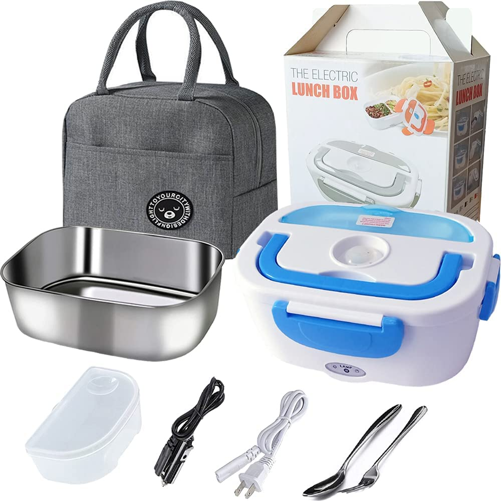 Electric Lunch Box Food Heater for Car and Home 12V & 110V - Portable Food Warmer Lunch Box - 1.5L Removable Stainless Steel Container, 2 Compartments - fork , spoon and Carry Bag - Blue