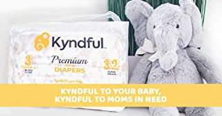 Kyndful Baby Diapers, Size 2 (11-22lb), 72ct. Hypoallergenic & Chlorine Free. Made w/Natural & Sustainable Ingredients. Comfy, Super Absorbent w/ 3D leakguards. 1 Order= 1 Donation to Help Save Moms