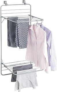 mDesign sèche-Linge pour Porte – étendoir à Linge Peu encombrant à accrocher en métal – à 2 étages – séchoir à Linge Prati...