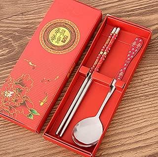 LoveOlvido Style Chinois Anti-d/érapant Cuisine Outil Vaisselle Baguettes en Acier Inoxydable cuisini/ère /à Usage Domestique Traditionnel color/é