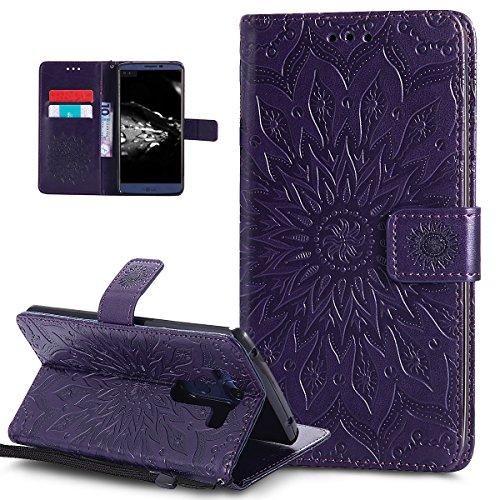 Ikasus Étui portefeuille en cuir synthétique avec porte-cartes Motif fleurs mandala et tournesol Violet