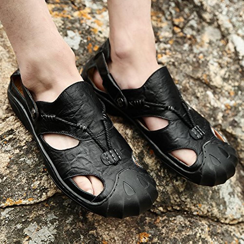 Men's sandals, cowhide, juvenile leather sandals, sports beach shoes