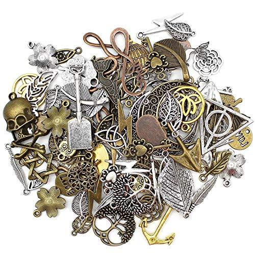Mila-Amaz 100 Stücke Charm Anhänger zum Schmuck, Zufällige Gemischte Charms für Schmuck Basteln Armband Halskette
