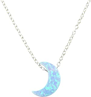 Martinuzzi Accessories Light Blue Moon Opal Necklace. Half Moon Necklace Crescent Opal Moon Charm Necklace