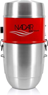 Nadair Large Capacity Central Vacuum System Hybrid Filtration for Air Purification-600 Airwatts Power Unit, 22L or 5.8 Gal, Aluminum