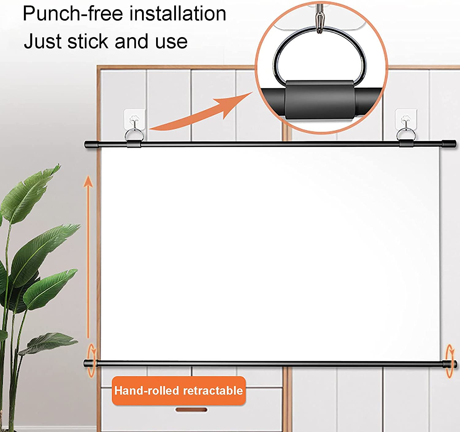 YFF-Corrimano Portable Projection Screen 4:3/16:9 HD Punch-Free Foldable Projection Screen Wall-Mounted Projection Screen, for Home Theater, Conference Presentation, Courtyard Party