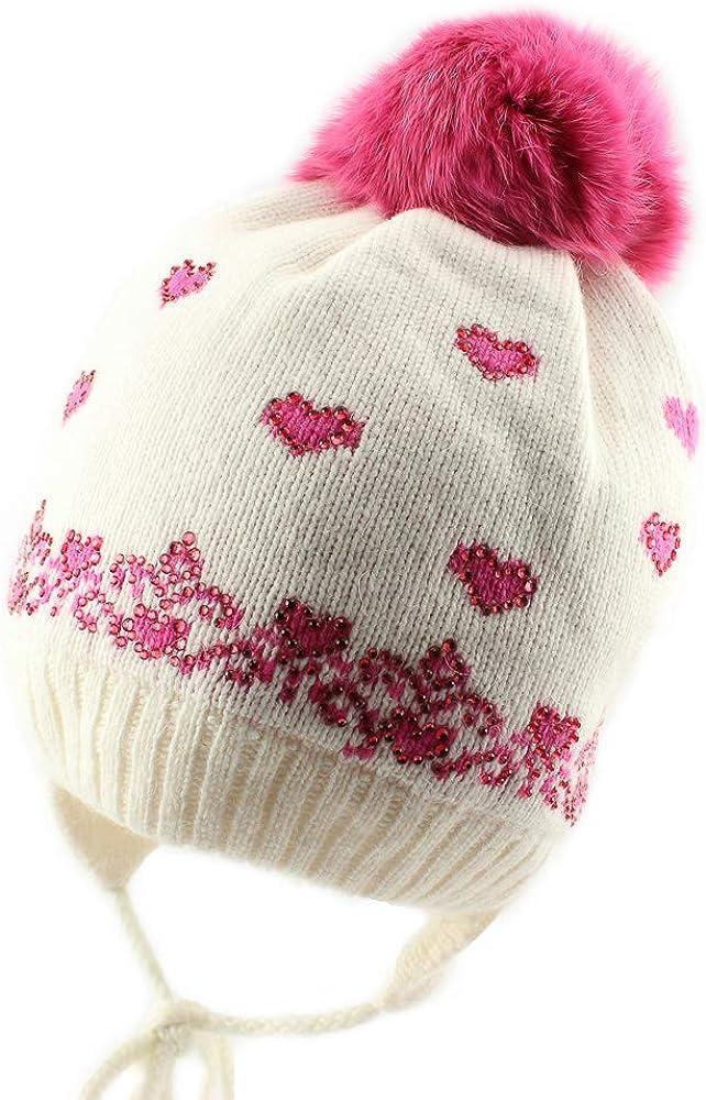Jamiks Baby Girls Warm Winter Natural Max 72% OFF Max 62% OFF Beani Fur Pom Flap Ear