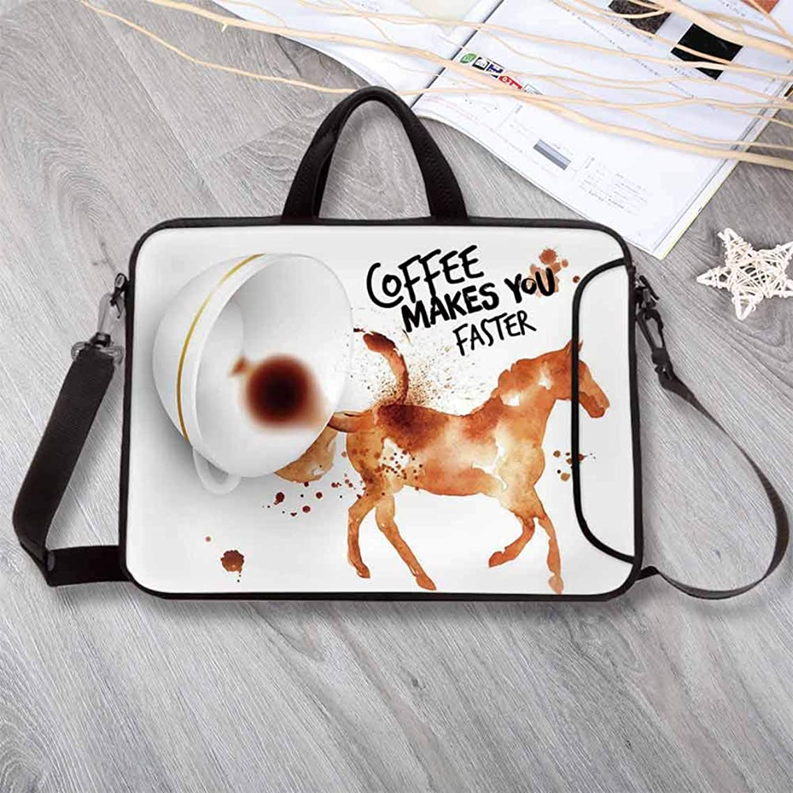 "Coffee Art Large Capacity Neoprene Laptop Bag,Hand Drawn Style Horse Silhouette with Positive Life Message Messy Look Decorative Laptop Bag for 10 Inch to 17 Inch Laptop,17.3""L x 13""W x 0.8""H"
