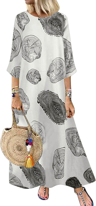 Womens Boho Dresses Vintage Print Floral Patch Sundress 3/4 Slee