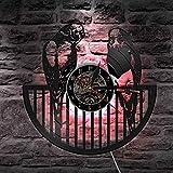 BFMBCHDJ Reloj de Pared de Registro Animales Modernos Cuarzo silencioso Luz Nocturna Parrot Bird Nursery Niños Decoración para el hogar Luz de Pared