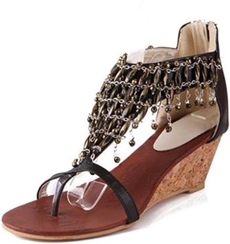 DZW Femmes Summer Platform Wedge Sandals Mid Heel Boho Chaussures Avec Cheville Crystal StrapDehommeder aux jeunes