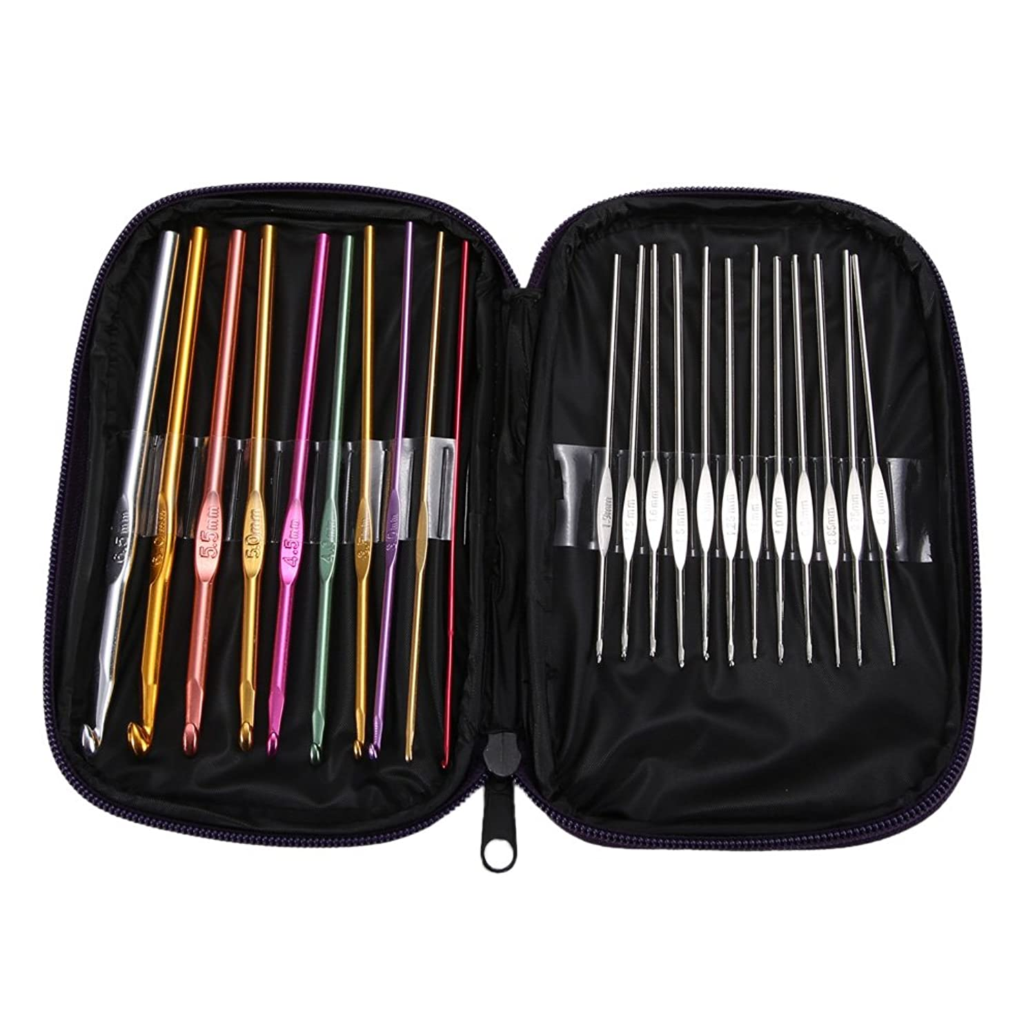Anysell88 22 PCS Crochet Hook Knitting Knit Needle Mixed Aluminum Handle Sewing Weave Yarn Set for Crocheting, Lace, Doilies and Flower Projects