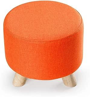 Small Stool Stools Sofa Stool Solid Wood Small Three-Legged Stool Removable Change Shoe (Color : Orange, Size : 303028CM)