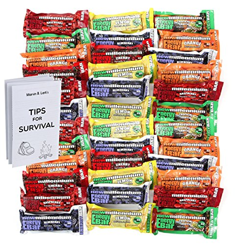 Millennium Energy Bars Assorted Flavors 36- pack including Emergency...