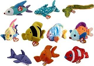 TY Beanie Babies - SET OF 10 FISH & SEALIFE (Coral, Aruba, Bubbles, Morrie, Poseidon +5)(6-8.5 inch)