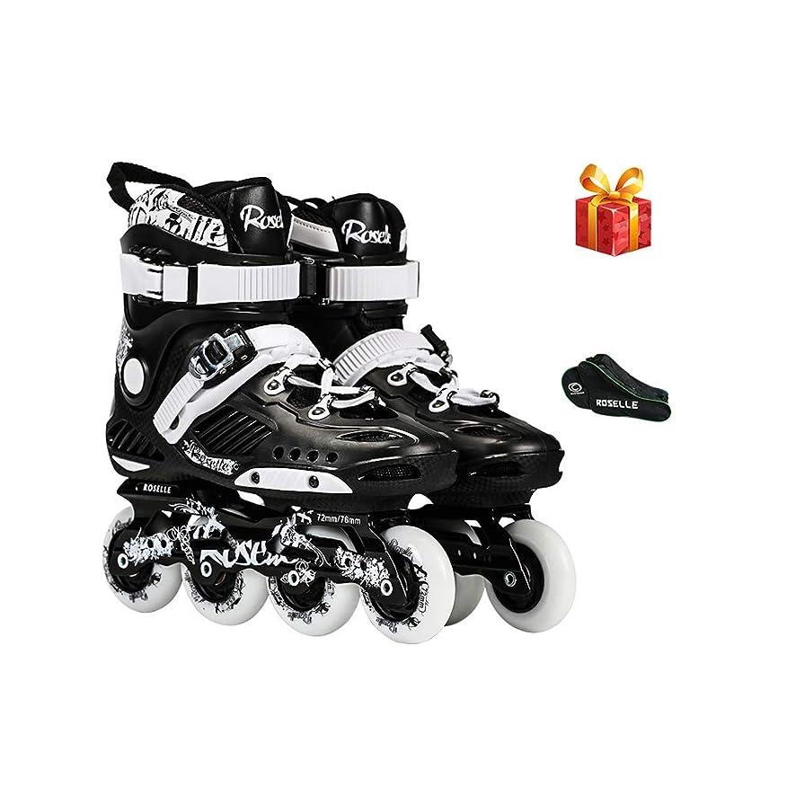 配送空の不良品スポーツ ジュニア Inline skate、 インラインスケート、 大人用1列スケート プロの男性と女性 スケート 初心者 フルセット(黒) (Color : Black B, Size : 35 EU/4 US/3 UK/22.5cm JP)