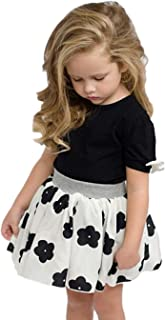 Baby Kid Girls Short Sleeve Bowknot T-Shirt Top+ Floral Pleated Skirt Outfits Set for 1-6 Years Old