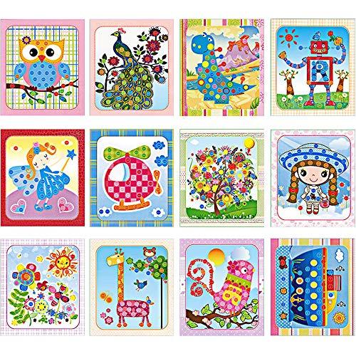 Lovyan Colorful Sticky Buttons Paintings Mosaic Sticker Art Sticky DIY Handmade Art Kits, Set of 12