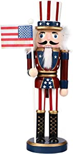 VALICLUD Patriotic Nutcracker Wooden Nutcracker Soldier Figurines Christmas Nutcracker Figurine with USA Flag