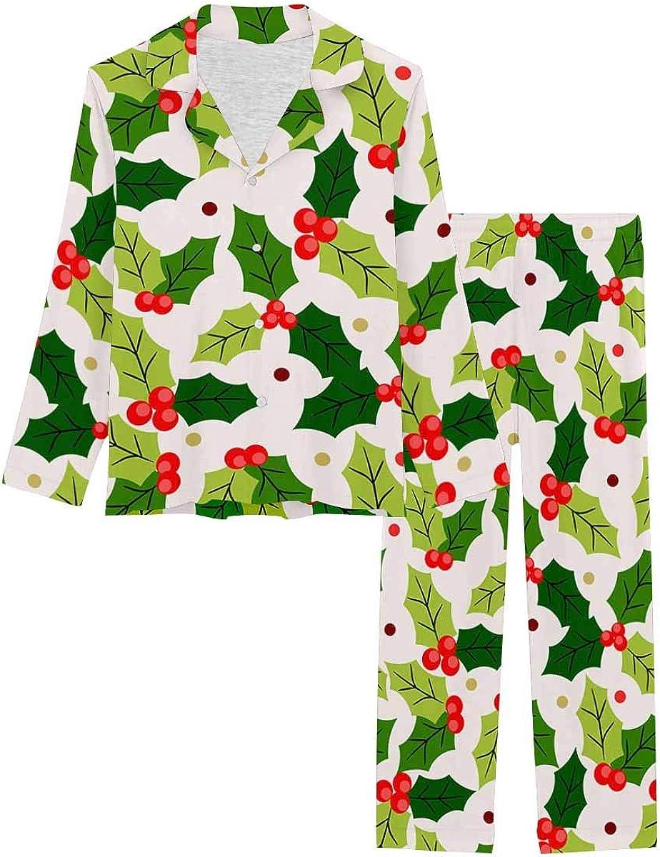 InterestPrint Women's Pajamas Set Long Sleeve with Long Pants XS-XXL Christmas Berry Holly on Light Yellow Background