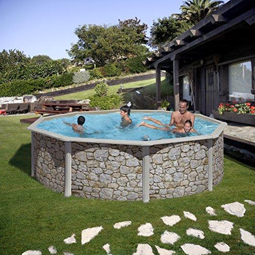 zizy Piscinas Amazing–Free-Standing piscina de acero sobre el suelo suelo efecto piedra–Disponible en cinco diferentes tamaños