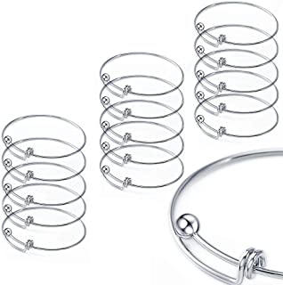 Yumei Jewelry Adjustable Wire Blank Bangle Bracelet for Womens DIY Jewelry Making,2.6 Inch,Pack of 15