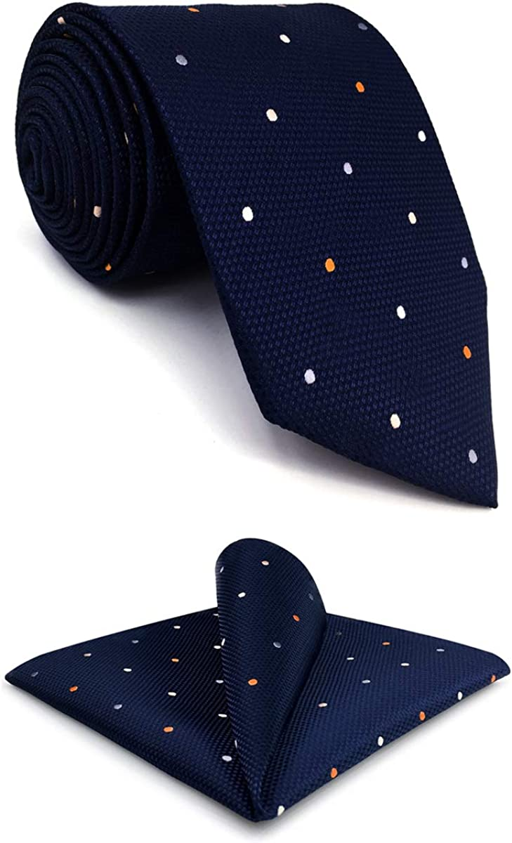 S&W SHLAX&WING Mens Ties Necktie Navy Dot Extra Long