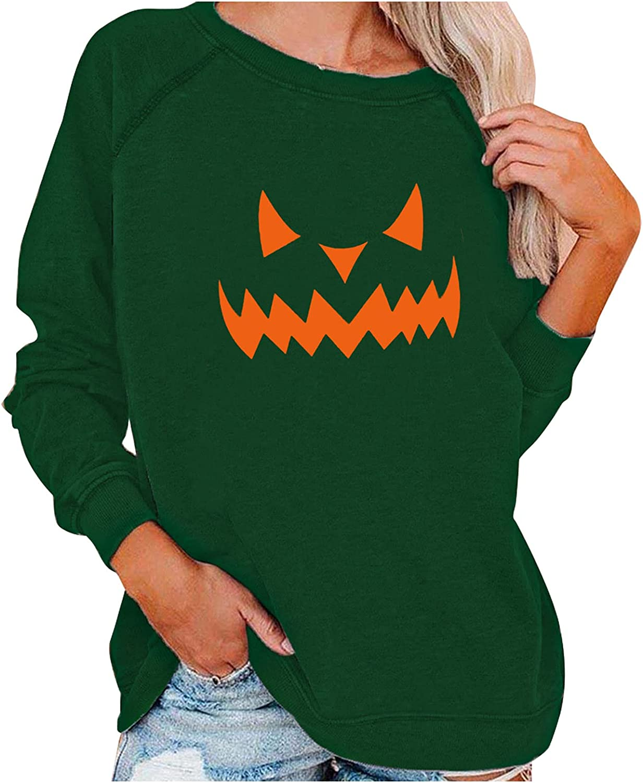 Halloween Sweatshirts for Women Crewneck Sweatshirt Pumpkin Print Long Sleeve Oversized Sweatshirt Pullover