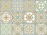 The Nisha 12 PC (15 X 15) pegatinas para pared Adhesivo de Pared Salpicadero de Vinilos Azulejos Adhesivos Arte Ecléctico para la Cocina & Baño, 15x15 cm, Fusión oriental