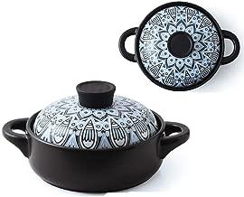 Terrines Casserole Blue Pattern Japanese Style Quaint Wind High Temperature Firing 26cm Different Ceramic Cooker Ceramic Pot Home Stew Casserole Stone Pot Gift (Color : B, Size : 22 * 22 * 14cm)