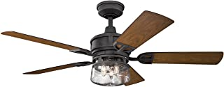 Indoor Ceiling Fans 3 Light with Distressed Black Finish Steel Candelabra 52 inch 120 Watts