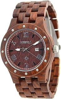 Bewell 109A Mens Red Luminous Wooden Dress Watch with Date, Quartz Analog Big Dial Wristwatch