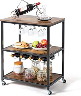 Giantex 3-Tier Rolling Kitchen Island Cart Industrial Style Trolley Serving Cart with Detachable Glasses Holder, 4 Wine Bottles Rack, Metal Frame, Lockable Castors (Rustic Brown)