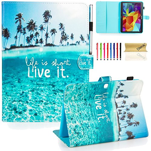 Galaxy Tab 4 10.1 Case,T530 Case,Dteck(TM) Slim Folio Stand Case with Cards Slots [Auto Wake/Sleep Feature] Smart Wallet Case Cover for Samsung Galaxy Tab 4 10.1 SM-T530NU T530 T531 T535, Live it
