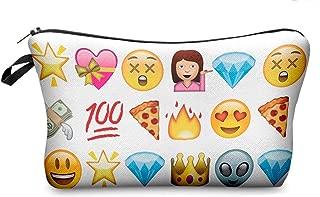 StylesILove Cute Graphic Pouch Travel Case Cosmetic Makeup Bag (White Emoji)