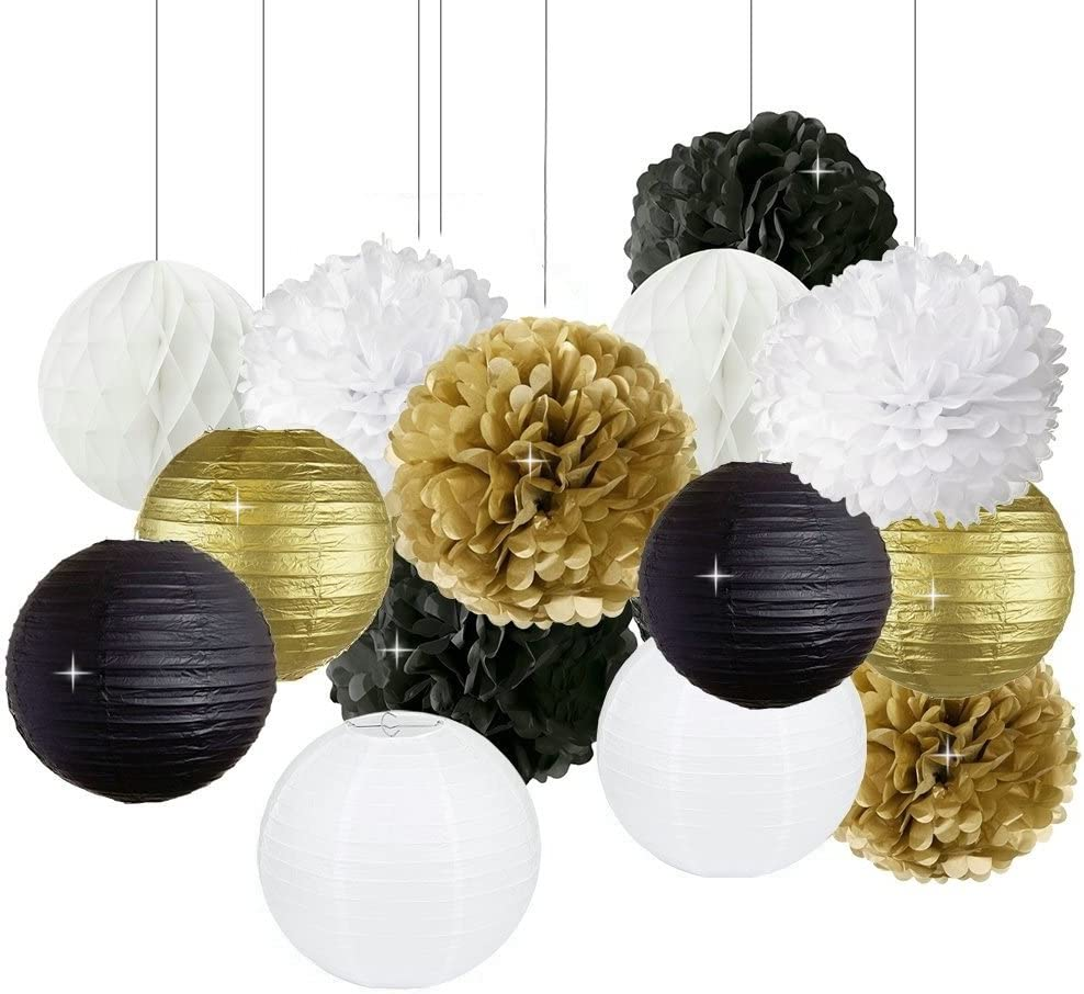 New Years Decorations Gold Black White Party Decor Kit Tissue Paper Pom Poms Flower Paper Lantern Paper Honeycomb Balls Party Hanging Decoration Favor for New Year's Eve Party /Birthday Decorations