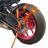 Racefoxx Cinghia di sicurezza per ruota posteriore moto, per il trasporto delle moto