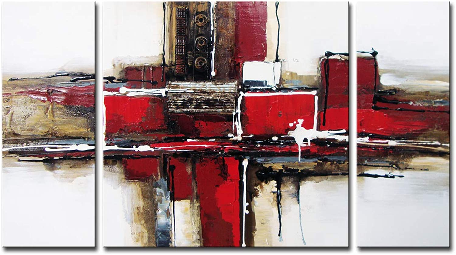 Noah Art-3 Panel Abstract Wall Art, Red and Black 100% Hand Painted Modern Abstract Oil Paintings on Canvas, Large Abstract Art for Living Room Wall Decor, 24 Inches Height x 48 Inches Width