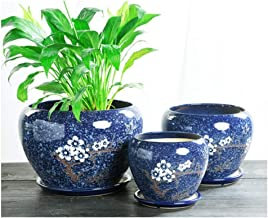 LJBH Ceramic flower pot with tray extra large size indoor creative simple green flower pot Exquisite workmanship, sturdy and durable (Color : D, Size : 11.5 * 12cm)